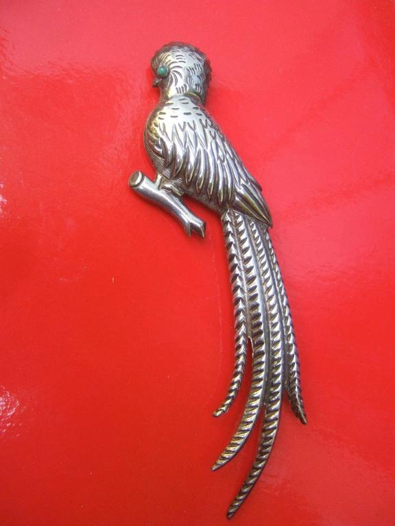Women's Massive Mexican Sterling Parrot Brooch c 1940s For Sale