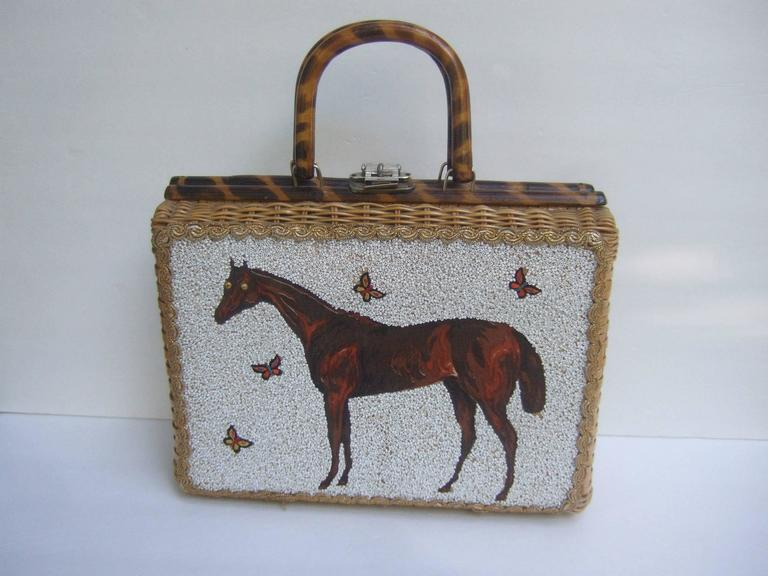 Glass Beaded Wicker Horse Theme Handbag C 1960 At 1stdibs