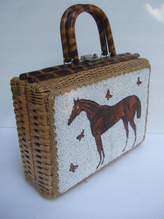 Glass Beaded Wicker Horse Theme Handbag C 1960 At 1stdibs