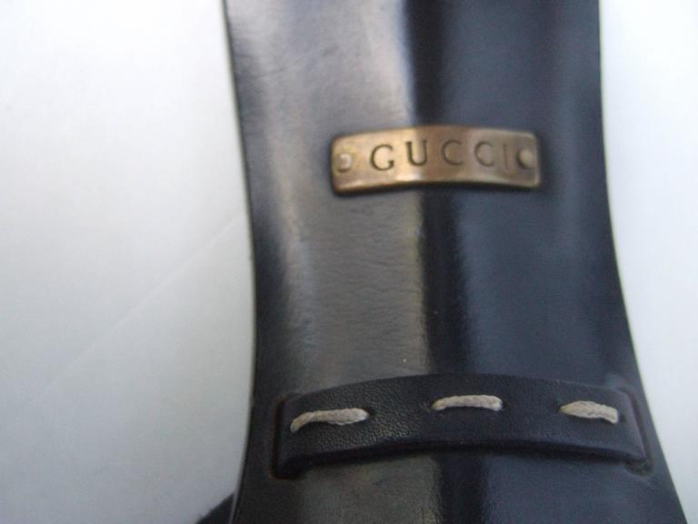 Gucci Italy Black Leather Bamboo Heel Sandals US Size 7B  For Sale 4