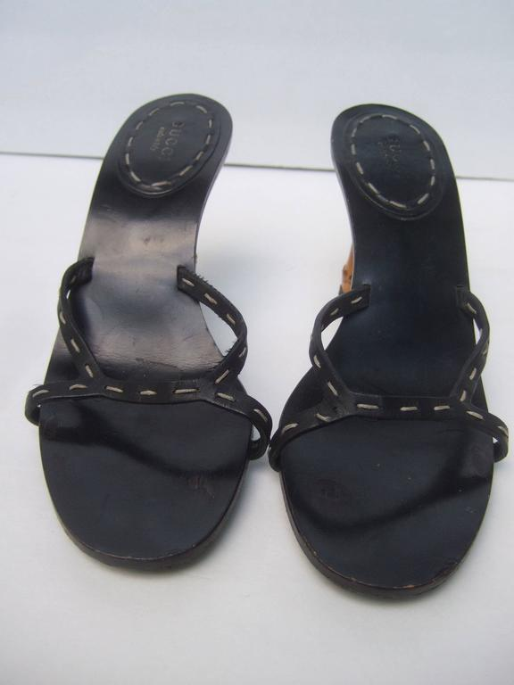 Gucci Italy Black Leather Bamboo Heel Sandals US Size 7B  For Sale 2