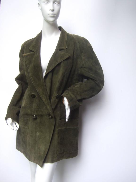Gucci Italy Moss Green Suede Shabby Chic Unisex Jacket c 1970s 4