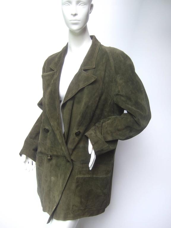 Black Gucci Italy Moss Green Suede Shabby Chic Unisex Jacket c 1970s For Sale
