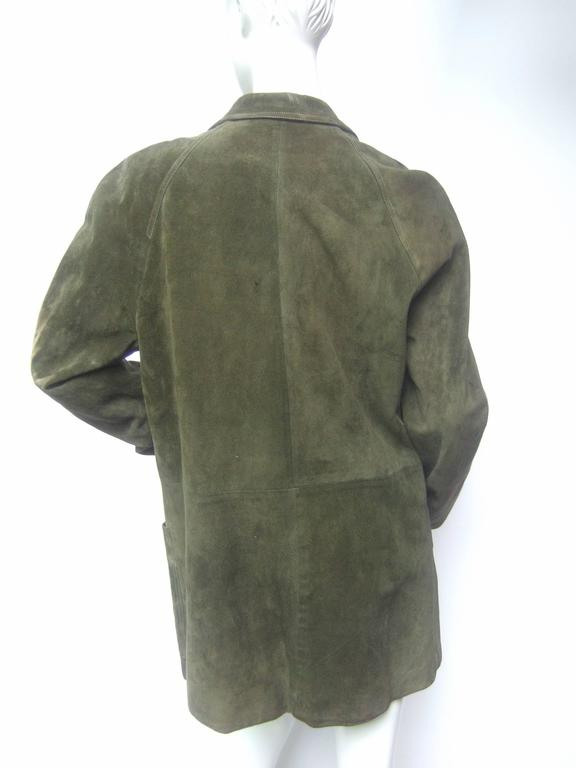 Gucci Italy Moss Green Suede Shabby Chic Unisex Jacket c 1970s 5