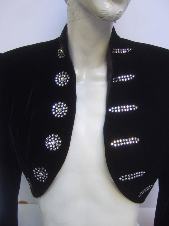 Black Crystal Velvet Matador Style Bolero Jacket  5