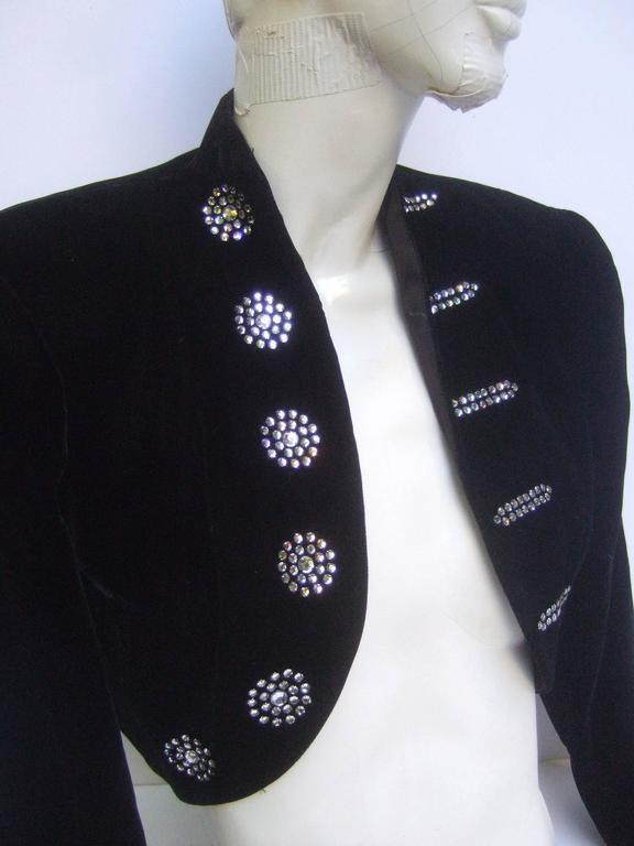 Black Crystal Velvet Matador Style Bolero Jacket  3