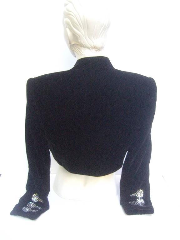 Black Crystal Velvet Matador Style Bolero Jacket  8