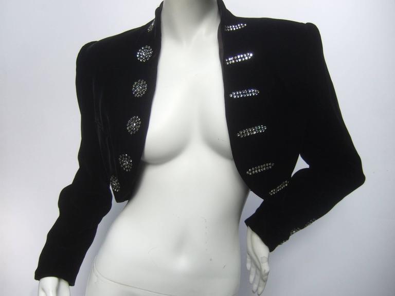 Black Crystal Velvet Matador Style Bolero Jacket  2