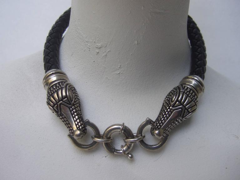 Sleek braided leather alligator head choker necklace