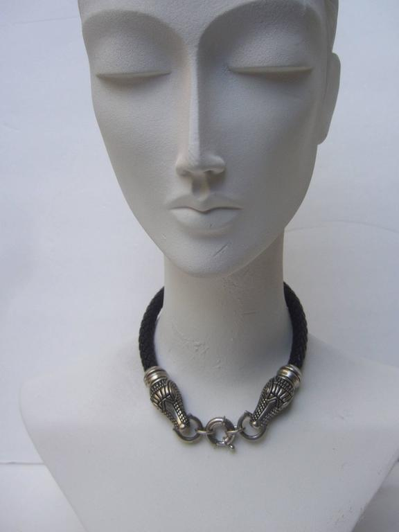 Sleek Braided Leather Alligator Head Choker Necklace For Sale 4