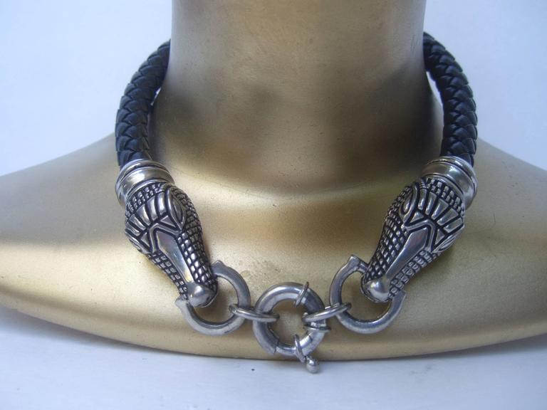 Artisan Sleek Braided Leather Alligator Head Choker Necklace For Sale