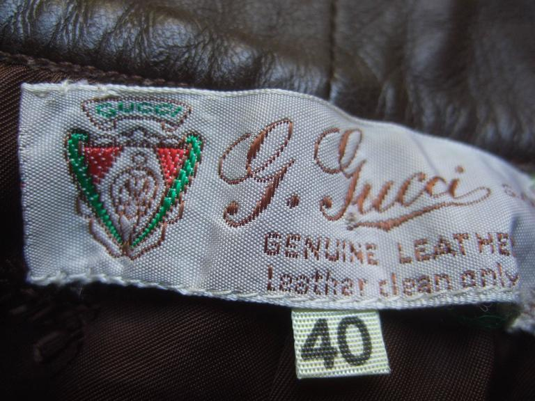 Gucci Italy Brown Leather Vintage Slacks c 1970s For Sale 1