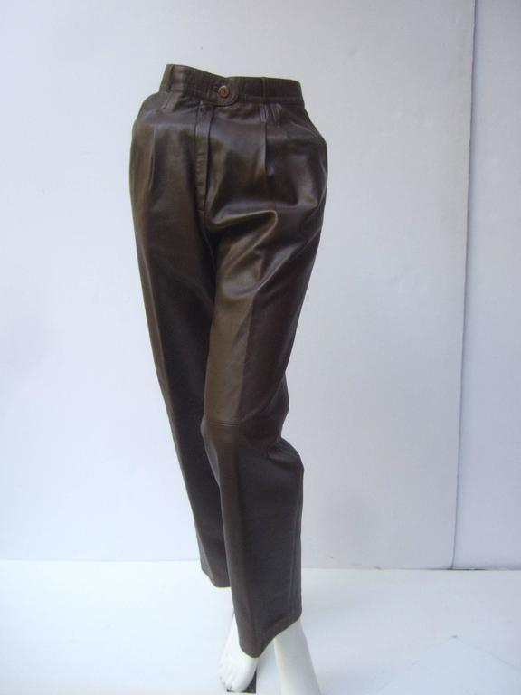Gucci Italy Brown Leather Vintage Slacks c 1970s 3