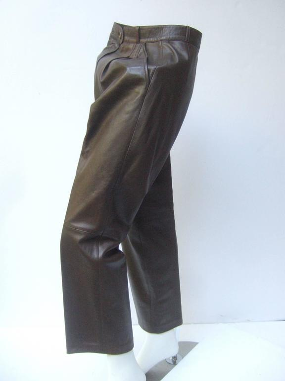 Gucci Italy Brown Leather Vintage Slacks c 1970s 2