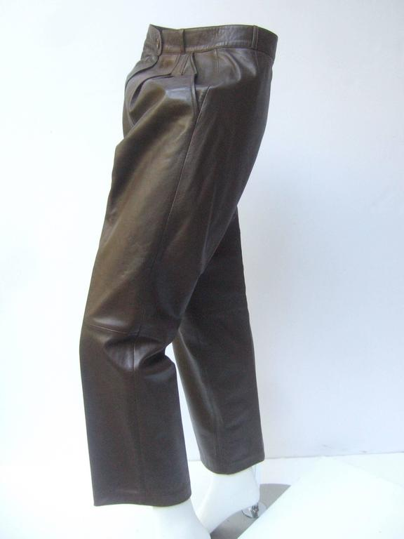 Gucci Italy Brown Leather Vintage Slacks c 1970s 5