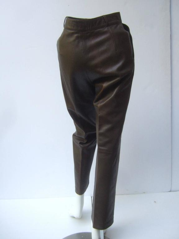 Gucci Italy Brown Leather Vintage Slacks c 1970s 4