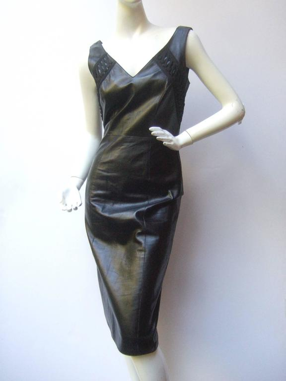 Christian Dior Paris Chic Black Leather Bondage Dress  2