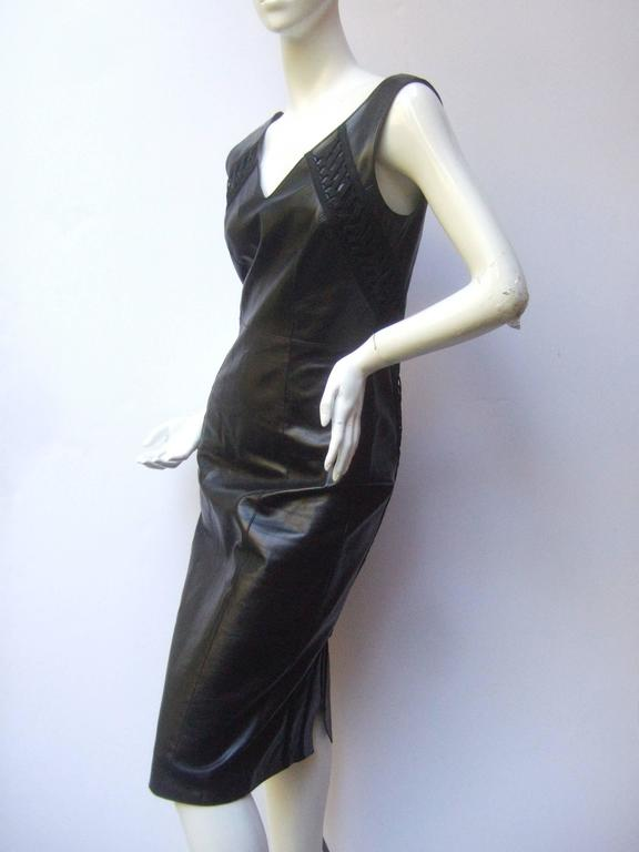 Christian Dior Paris Chic Black Leather Bondage Dress  3