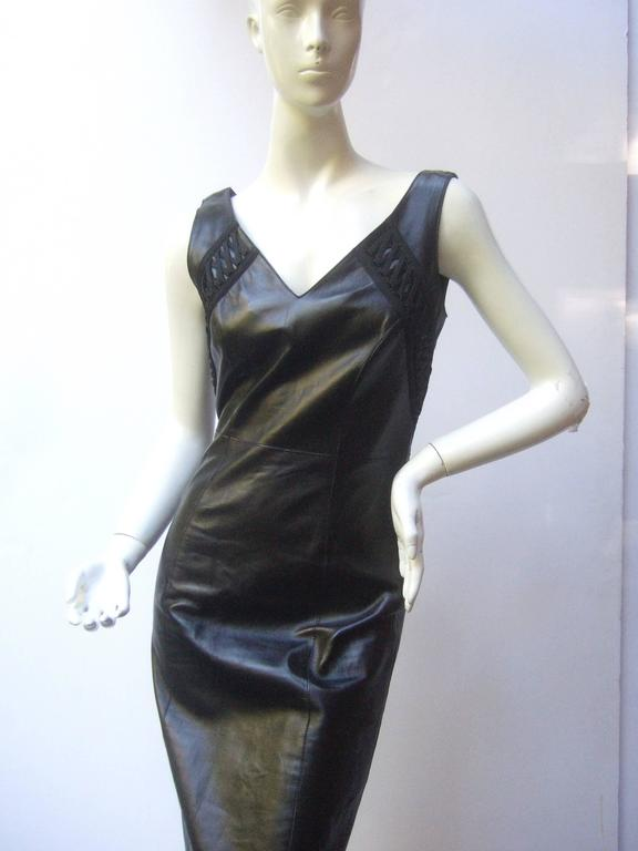 Christian Dior Paris Chic Black Leather Bondage Dress  7