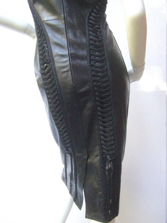 Christian Dior Paris Chic Black Leather Bondage Dress  5