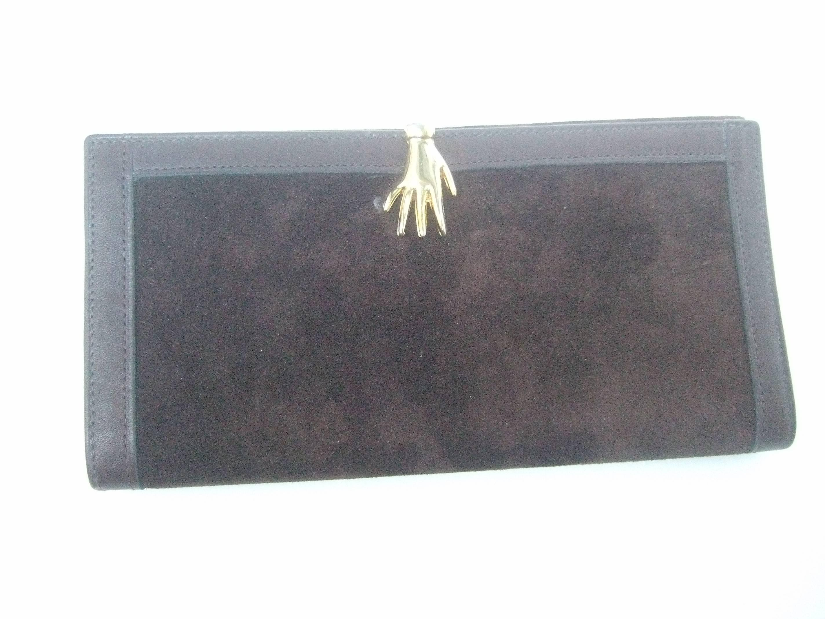 c53f5ed050ae16 Gucci Rare Chocolate Brown Suede Hand Clasp Wallet c 1970s at 1stdibs