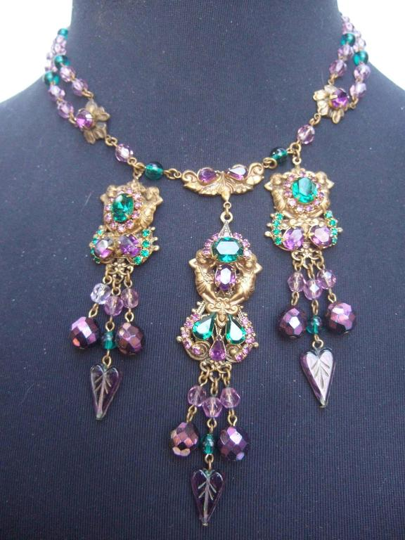 Exquisite Crystal Jeweled Tiered Necklace. 1950's. In Excellent Condition For Sale In Santa Barbara, CA
