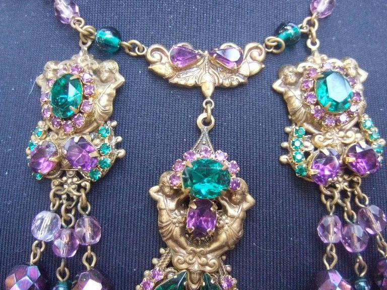 Women's Exquisite Crystal Jeweled Tiered Necklace. 1950's. For Sale