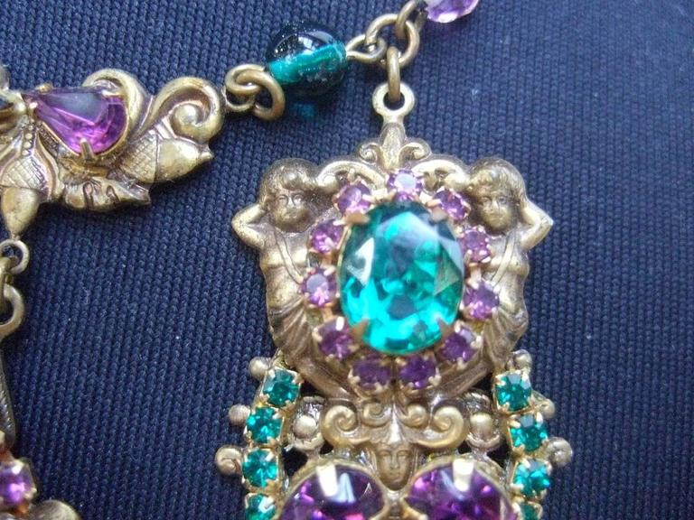 Exquisite Crystal Jeweled Tiered Necklace. 1950's. For Sale 1