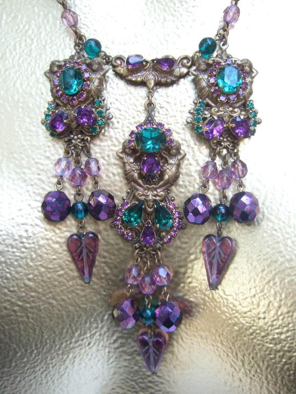 Exquisite Crystal Jeweled Tiered Necklace. 1950's. For Sale 2
