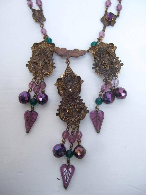 Exquisite Crystal Jeweled Tiered Necklace. 1950's. For Sale 3