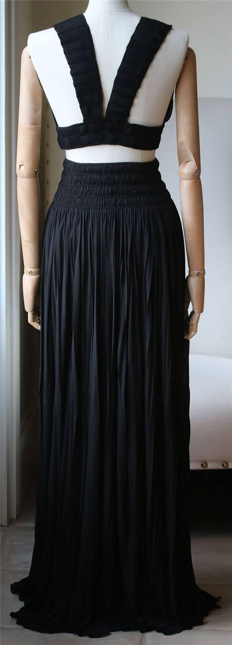 Black Azzedine Alaia Ruched Pleated Top and Skirt  For Sale