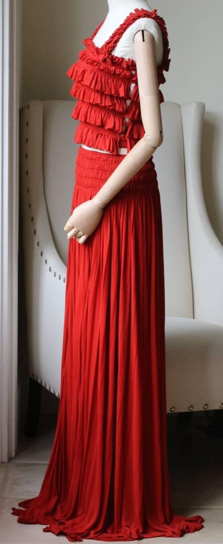 Red Azzedine Alaia Shirred Ruched Crop Top and Skirt For Sale