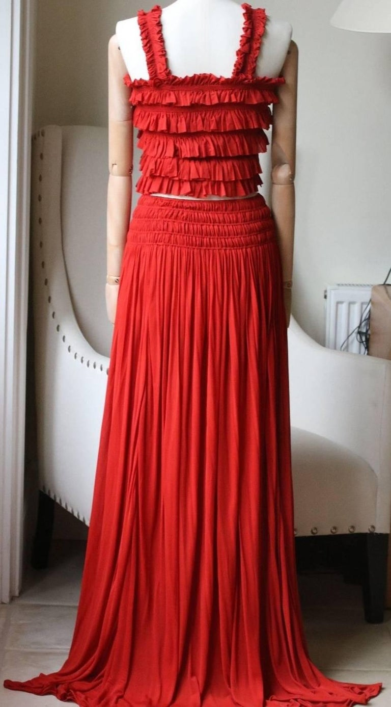 Azzedine Alaia Shirred Ruched Crop Top and Skirt In Excellent Condition For Sale In London, GB