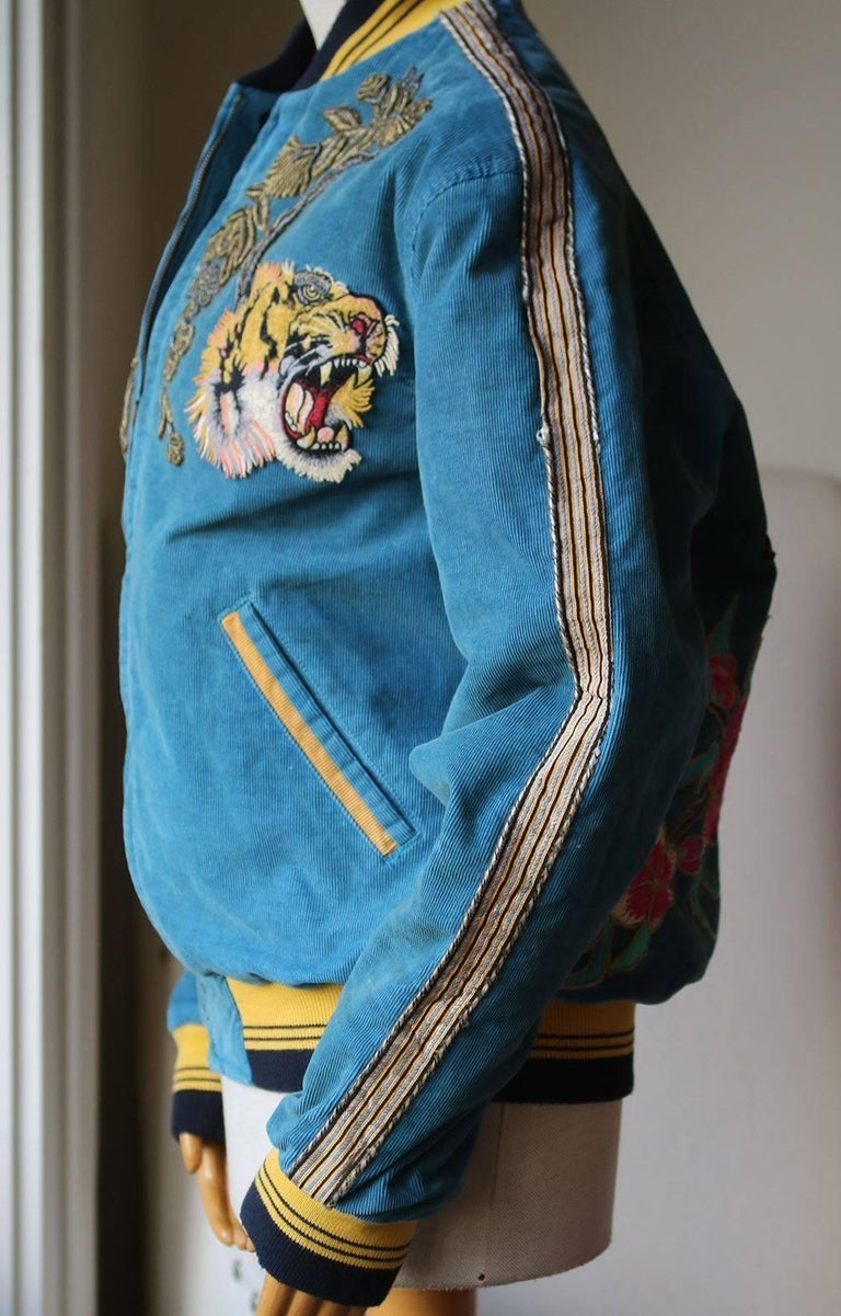 b07081d5 Blue Gucci Dragon-Embroidered Corduroy Bomber Jacket For Sale