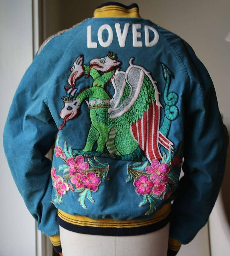 77cfa77e Gucci Dragon-Embroidered Corduroy Bomber Jacket In Excellent Condition For  Sale In London, GB
