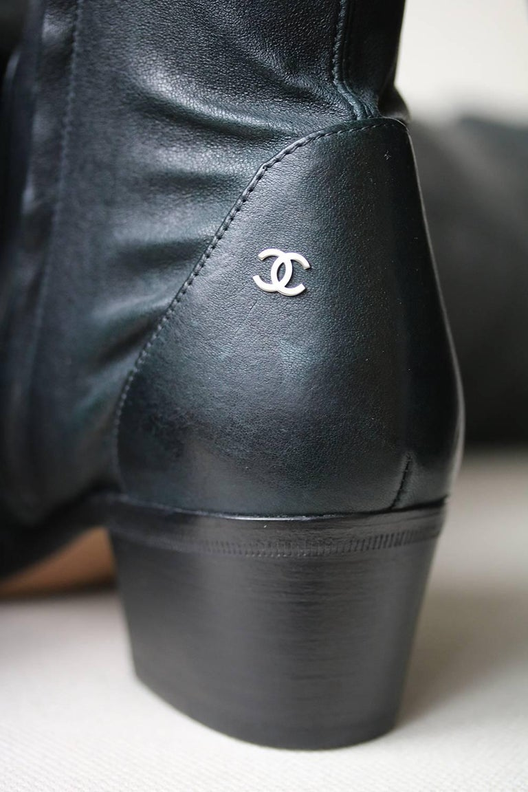 fd5592455d1e Women s or Men s Chanel Stretch-Leather Over-The-Knee Boots For Sale
