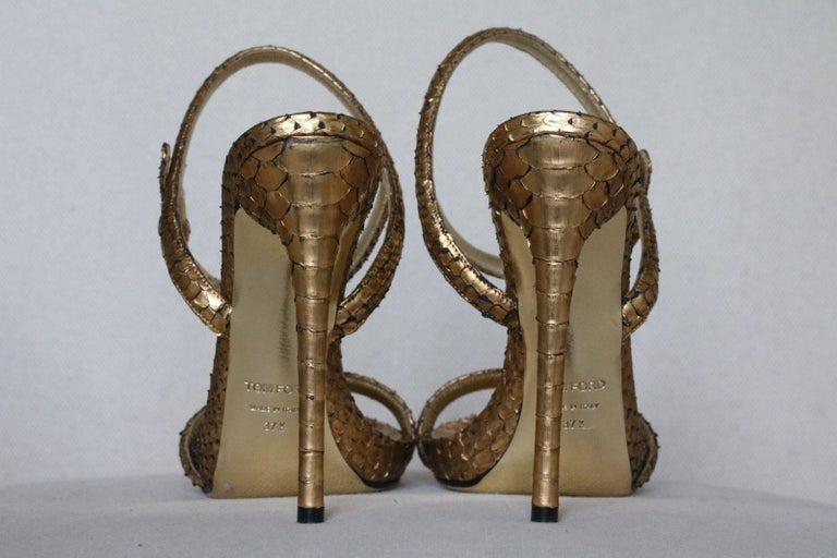 Tom Ford Gold Python Leather Sandals  In New Condition For Sale In London, GB