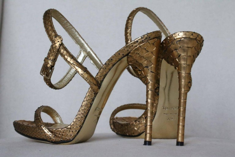 Women's or Men's Tom Ford Gold Python Leather Sandals  For Sale