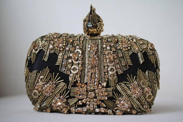 Black Alexander McQueen The Skull Swarovski Crystal Embellished Box Clutch For Sale