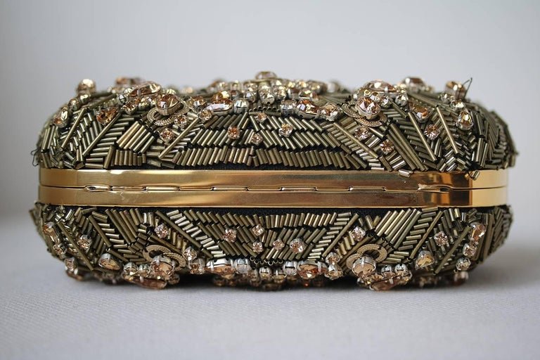 Alexander McQueen The Skull Swarovski Crystal Embellished Box Clutch In New Condition For Sale In London, GB