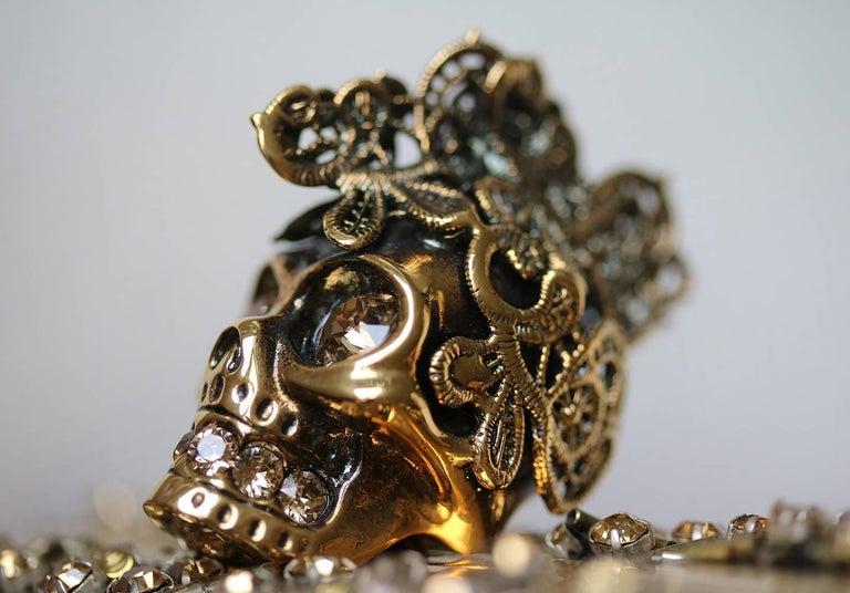 Women's or Men's Alexander McQueen The Skull Swarovski Crystal Embellished Box Clutch For Sale