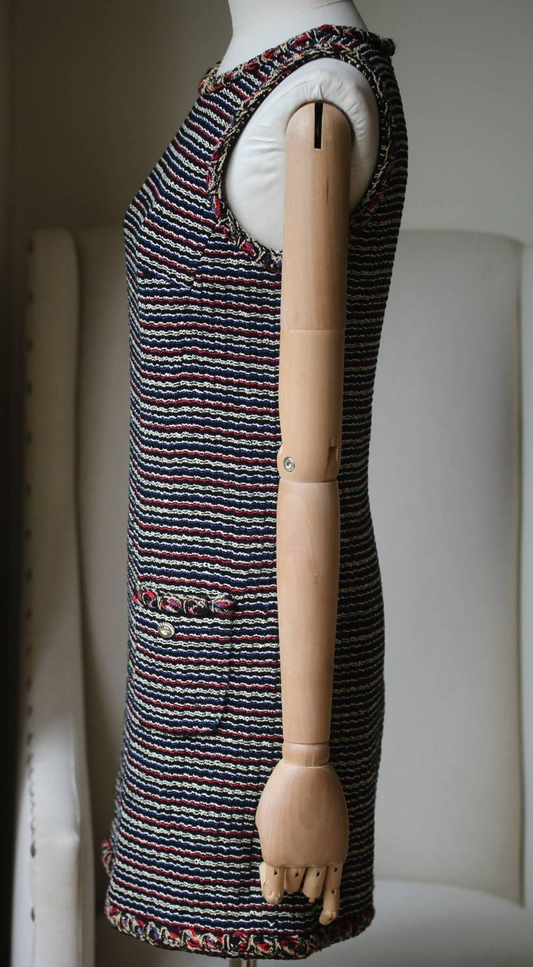 Chanel Wool Tweed Mini Dress In Excellent Condition For Sale In London, GB