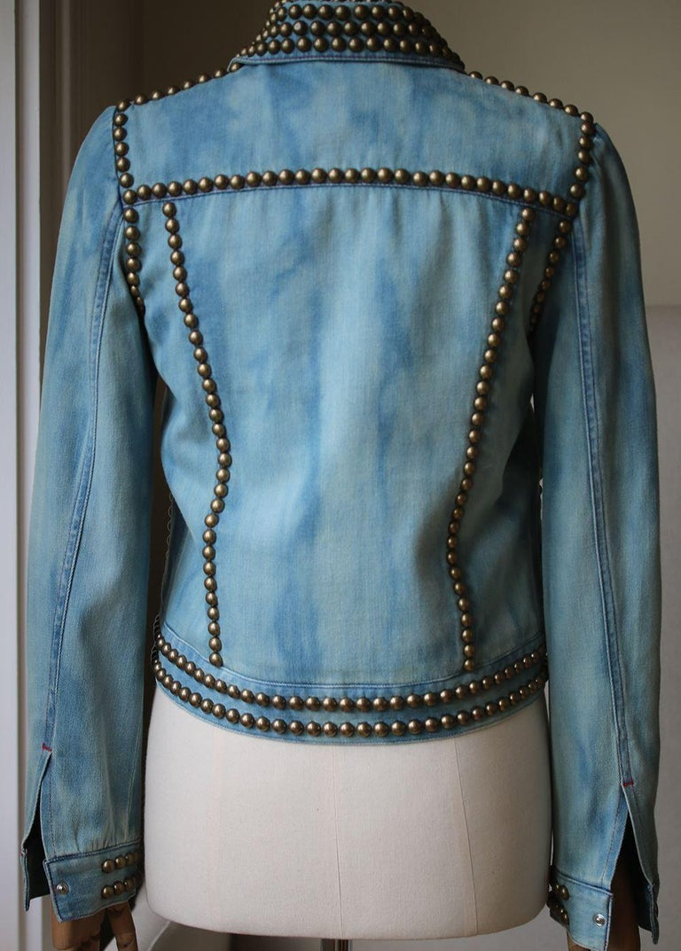 Gucci Embroidered Studded Denim Jacket In Excellent Condition For Sale In London, GB