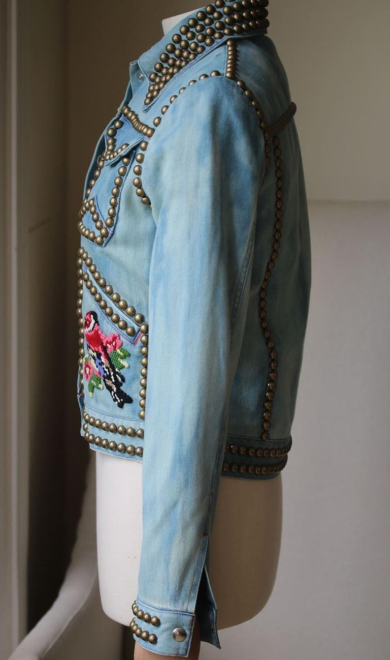 Gray Gucci Embroidered Studded Denim Jacket For Sale