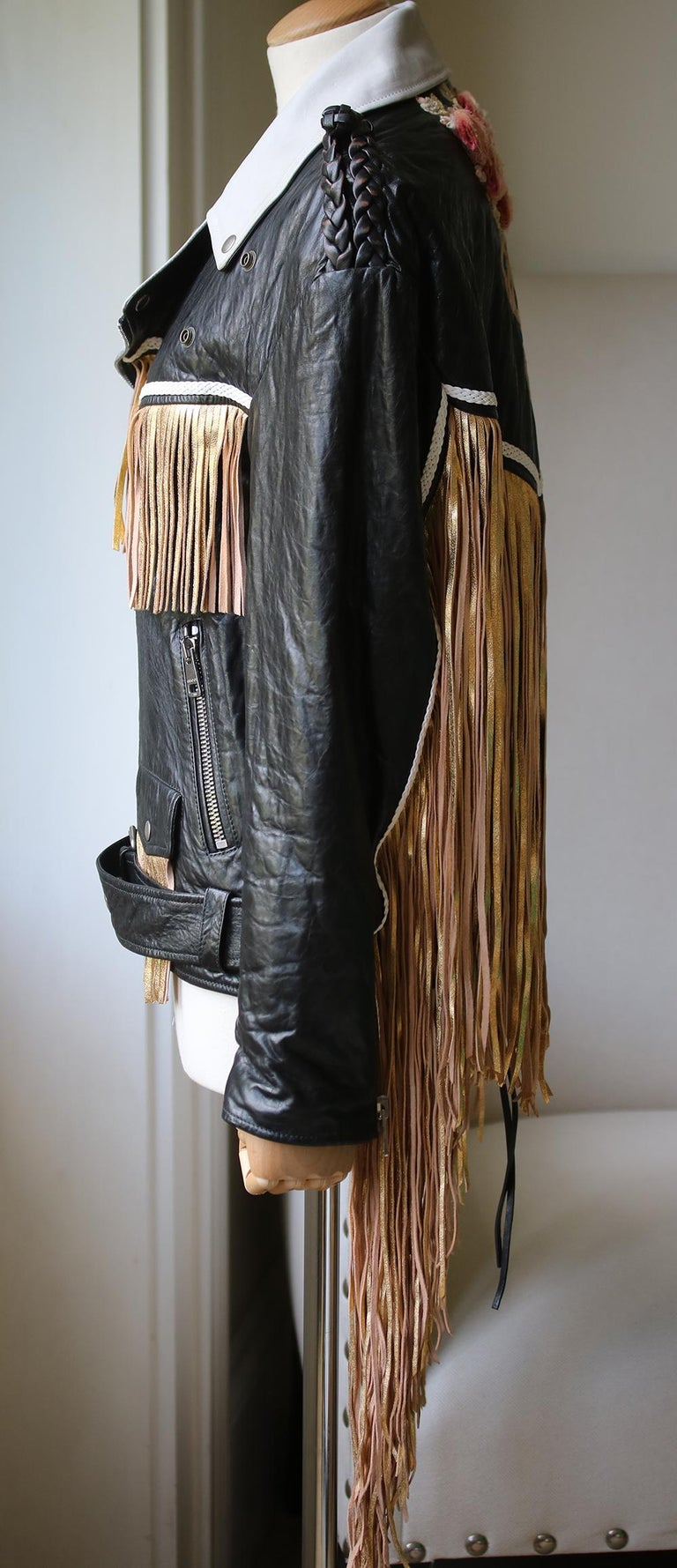 Beige Gucci Fringed Leather Jacket For Sale