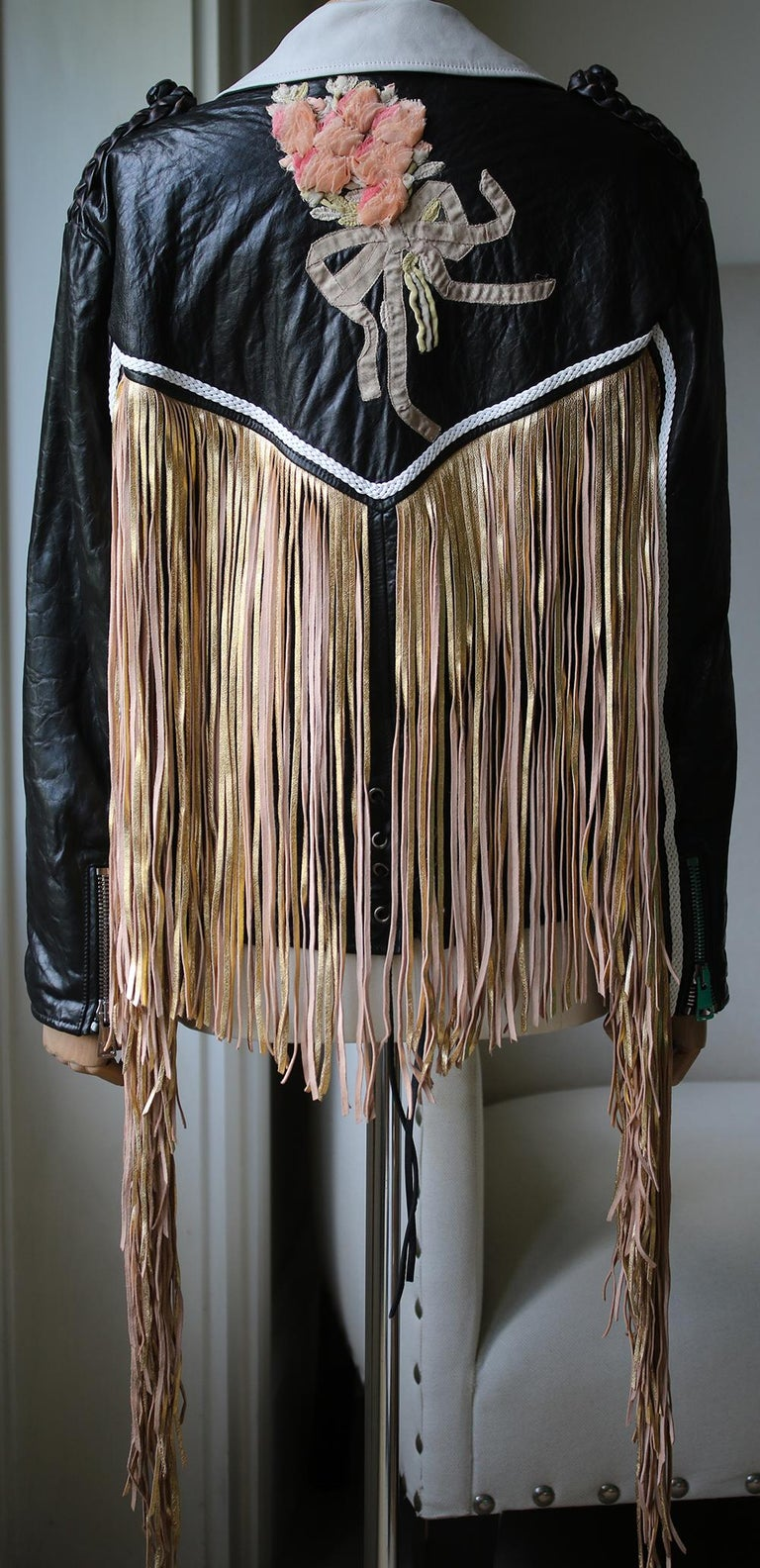 Gucci Fringed Leather Jacket In Excellent Condition For Sale In London, GB