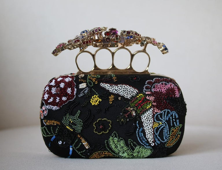 Black Alexander McQueen Beaded Embroidered Cutch For Sale