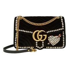 Gucci GG Marmont Crystal Embellished Velvet Bag