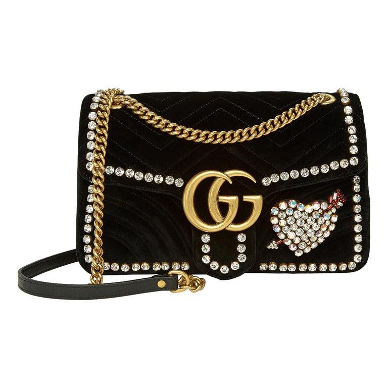 0dde38306 Gucci GG Marmont Crystal Embellished Velvet Bag at 1stdibs