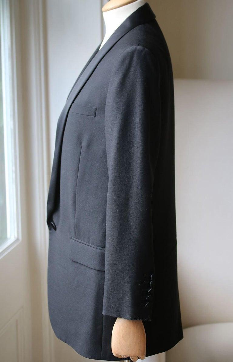 Black Saint Laurent Satin-Trimmed Wool Gabardine Tuxedo Jacket For Sale